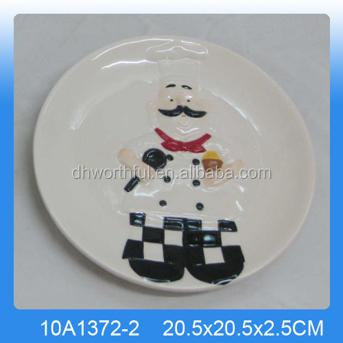 Personalized white ceraimc handmade plate with chef pattern glazed