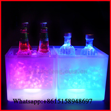 LED Color Lights Changing Square Waterproof Ice Bucket Beer Champagne Party Bar