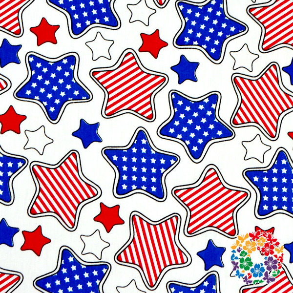 100% Cotton July 4th Stars Print Fabric Boutique 100* 150 CM Fabric Textile