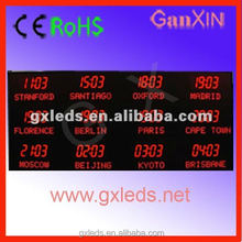 Ganxin customizable led time zone clock display led world clock