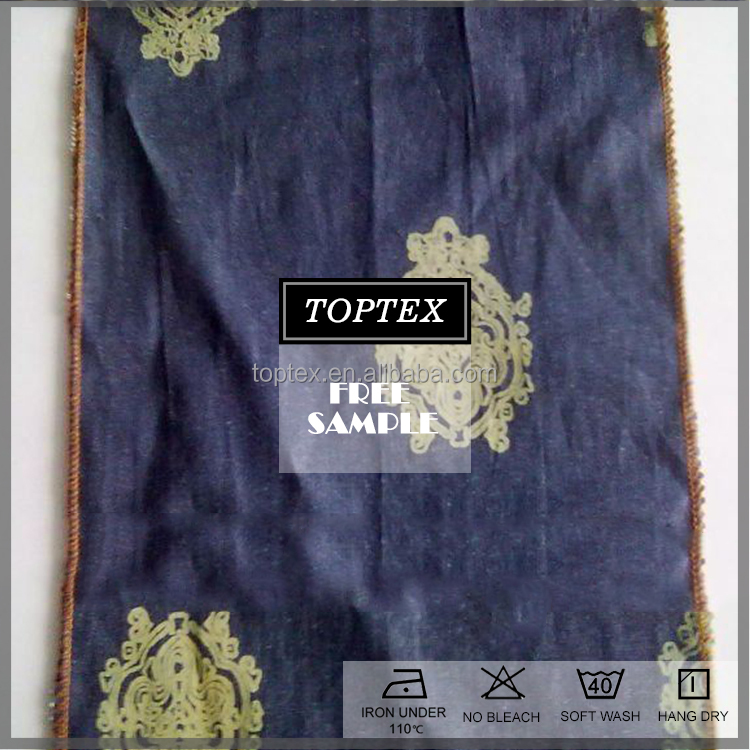 100% cotton printed indigo denim fabric for jeans