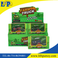Pull back metal farmer truck toy with excavator