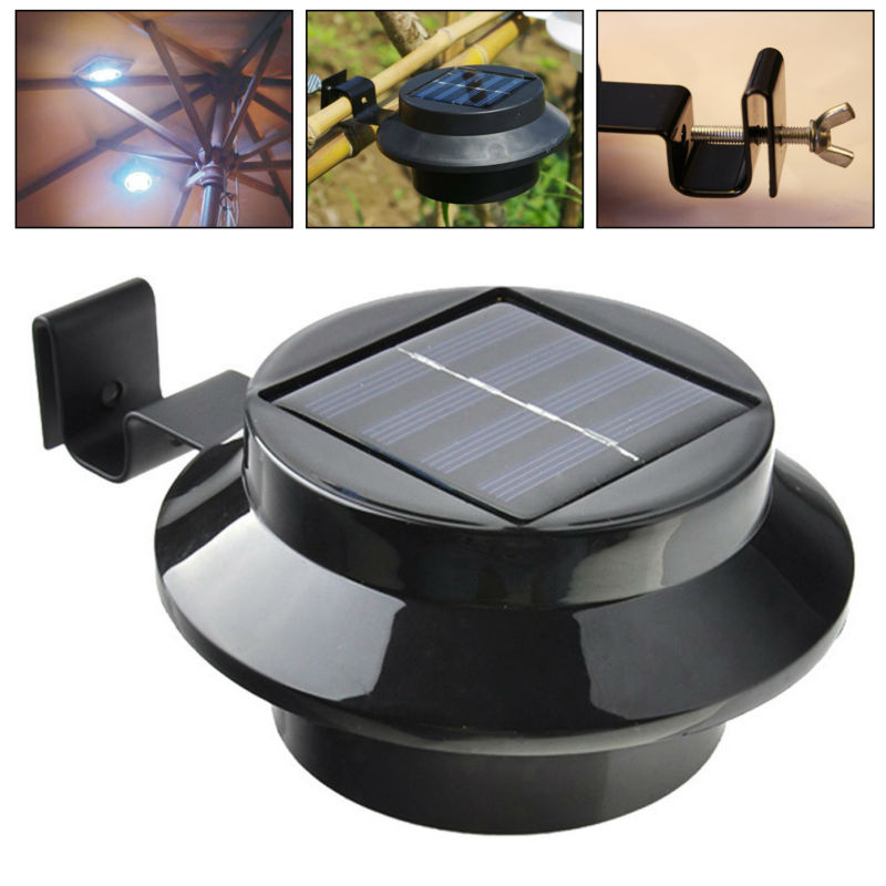 Outdoor Solar Powered 3 LED Cool White/Warm White Light Fence Gutter Garden Yard Roof Wall Lamp