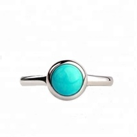 Simple Design Bezel Setting 925 Silver Turquoise Ring For Girls