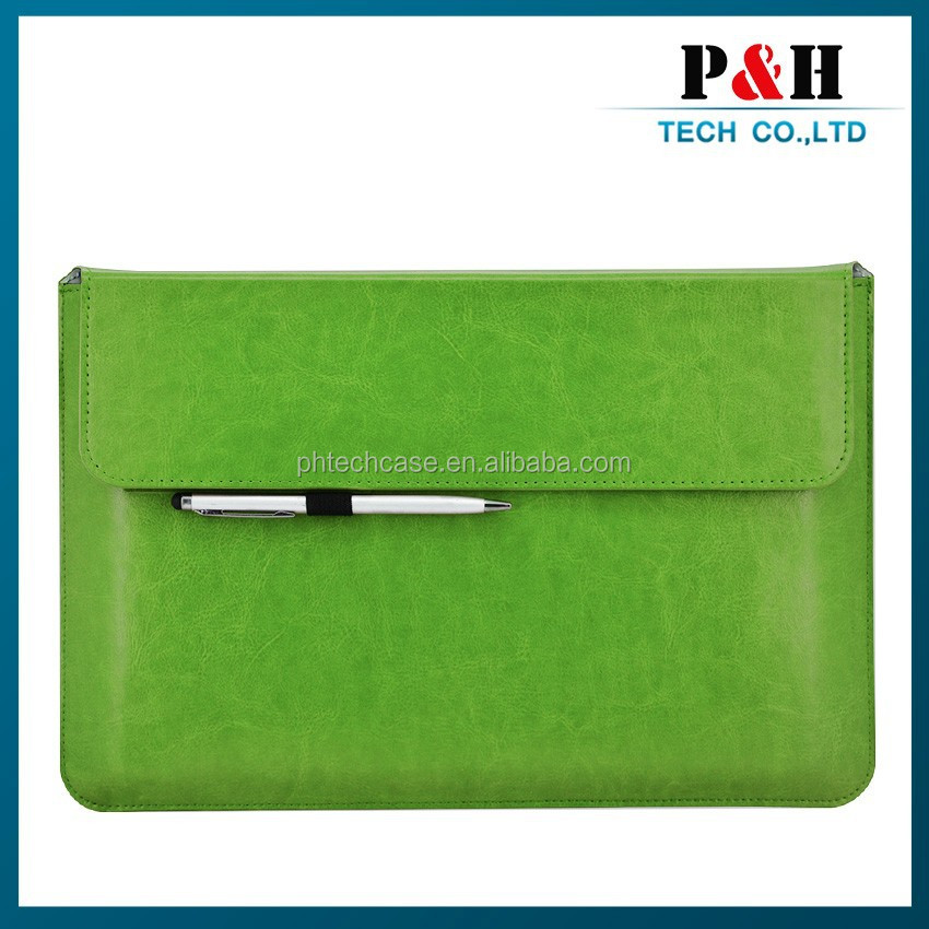 2015 business syle leather portfolio case for 12 inch tablet or laptop