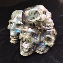 Wholesale natural handmade carved Labradorite snake skull stone quartz crystal feng shui five skulls skull
