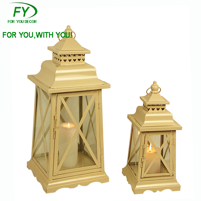ML-1695 set of 2 Turkish wholesale terraced cheap weddings metal candle lanterns
