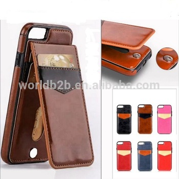 Slim Card Holder Wallet Leather Back Case With Stand for iPhone 7