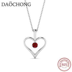 White Gold Plated Ruby 925 Sterling Silver cz Heart Necklace