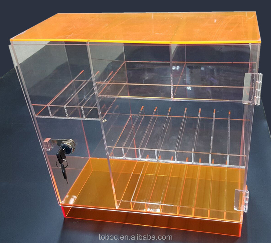 New arrival With Lock and Key Acrylic Cigarette Display Case