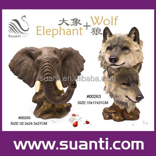 Resin elephant wolf statue, polyresin wild animal figurine, gift and souvenir