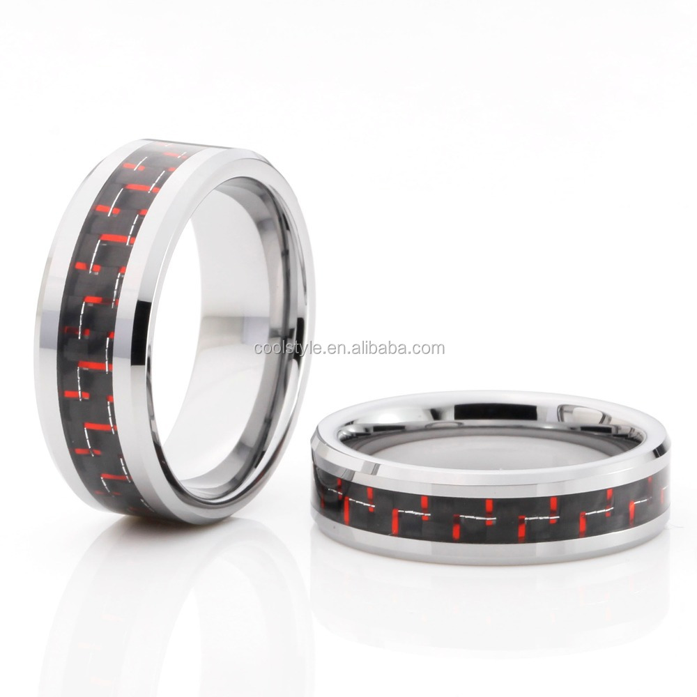 Top sale tungsten ring black & red carbon fiber inlay