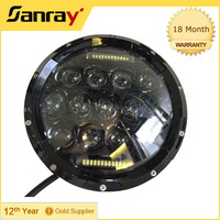 "CE Cree off road 75w led halo light 10-30V round shape 7"" led Auto Headlight With DRL"