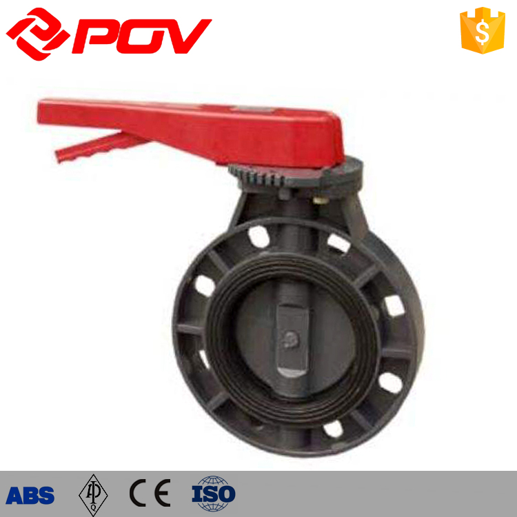 PPH Material Hand operated lp PVC butterfly valve