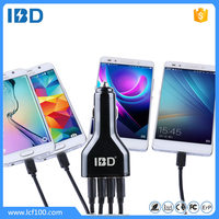 IBD wholesale qualcomm QC 2.0 Approved quad 4 USB Car charger fast charger 9v/1.67a 12v/1.5a for Samsang S6 S6edege
