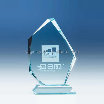 Wooden base design glass flame shaped trophies crystal awards with customized logo