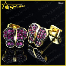 wholesale brass and 925 sterling silver material accepted ruby inlay butterfly stud earrings