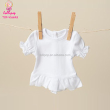 "American Girl Gress Up Game Doll Clothes 18"" Blank Short Sleeve Wihite Ruffle Doll T Shirt Wholesale"