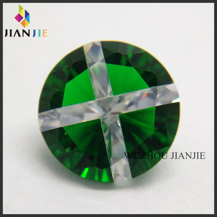 Factory Wholesale Price Green Glass and White Round Cross CZ Synthetic Gem Cubic Zirconia Stone