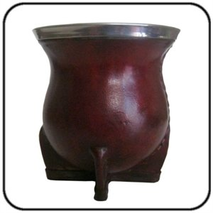 Hand Made Yerba Mate Gourd, Leather Covered with Metal Rim (Pear Shape)