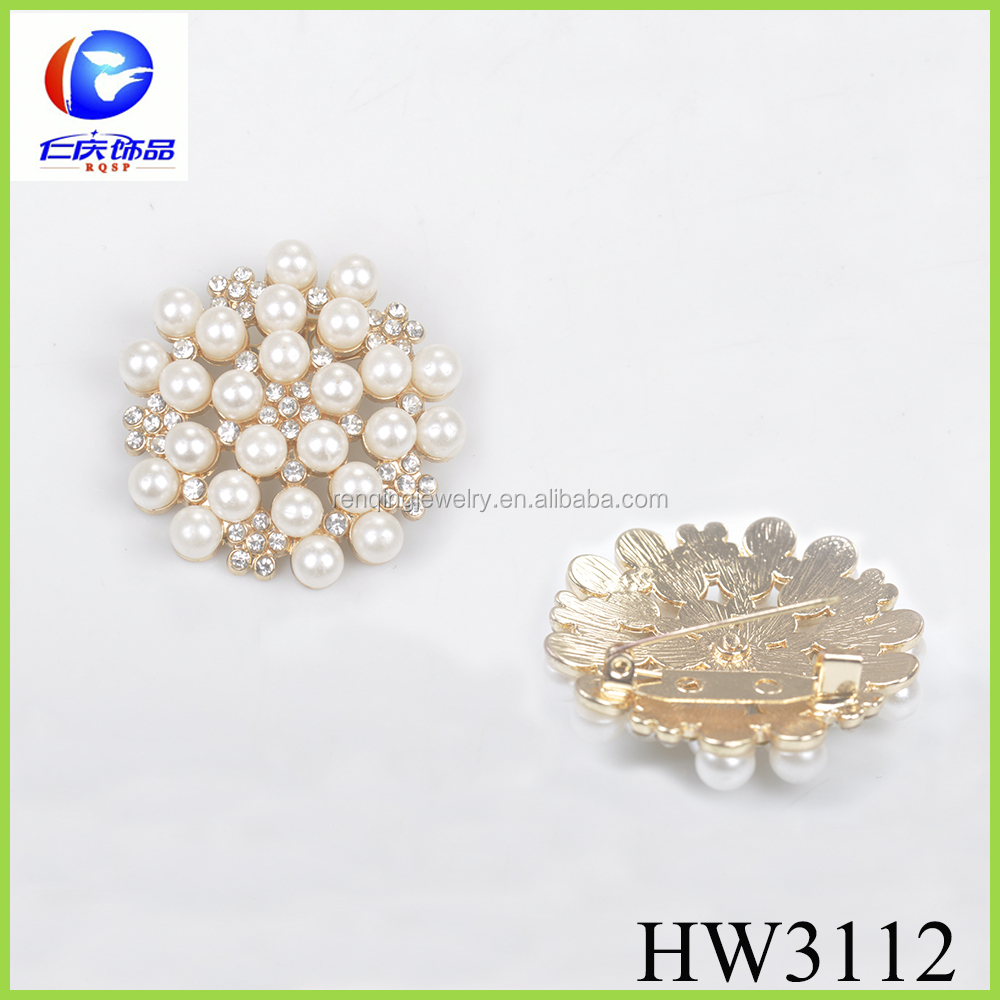 rhinestone pearl pin dismountable brooches for wedding