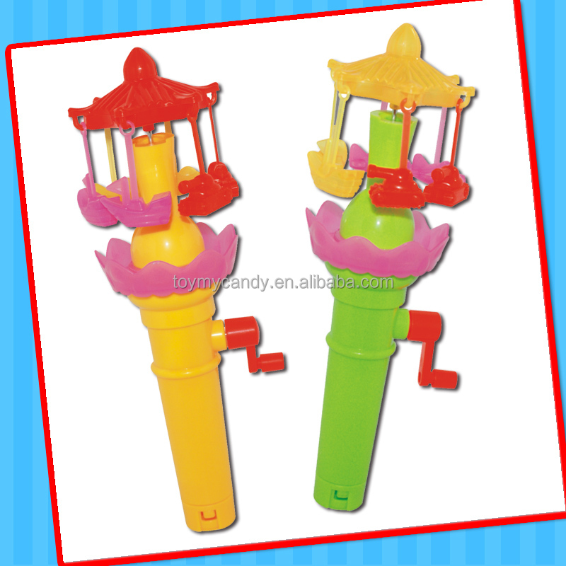 plastic handle fan mini merry-go-round toy candy with 5g jellybean hard candy