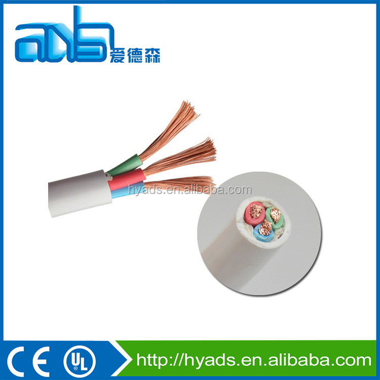 3 cores round RVV PVC Insulated flexible electric cable with paper filling