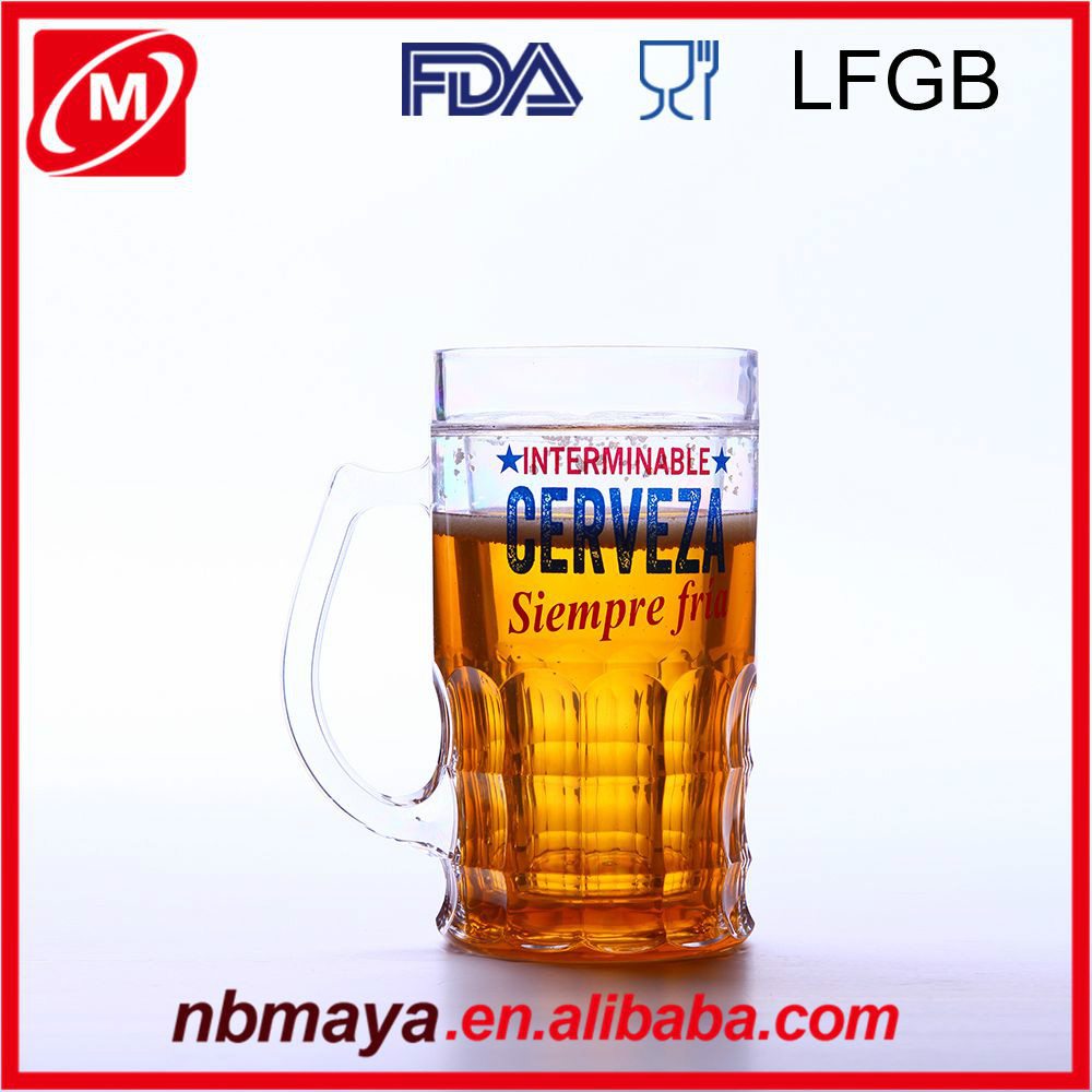 plastic double wall gel freezer mugs,frosty beer mugs