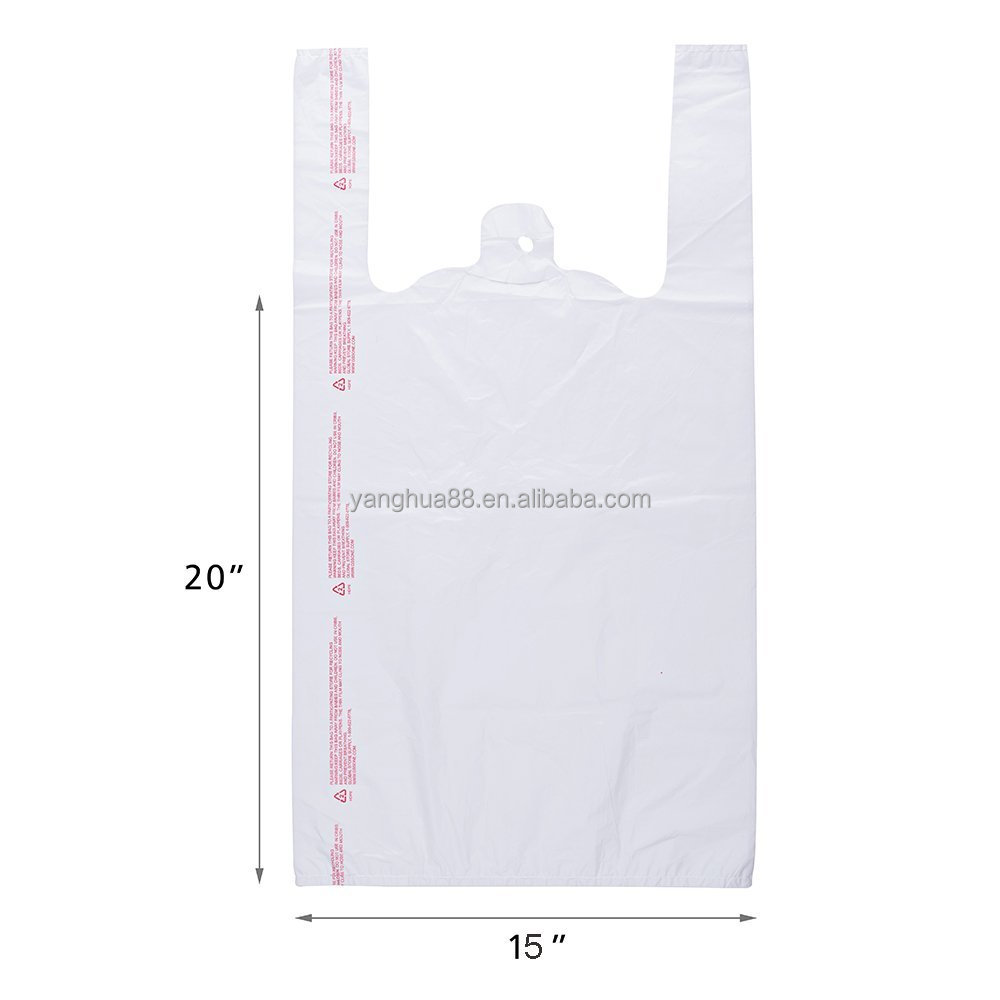 100 Plastic T-Shirt Retail Shopping Supermarket Bags Handles Packaging - White, 18x28cm/7.09x11.02inch