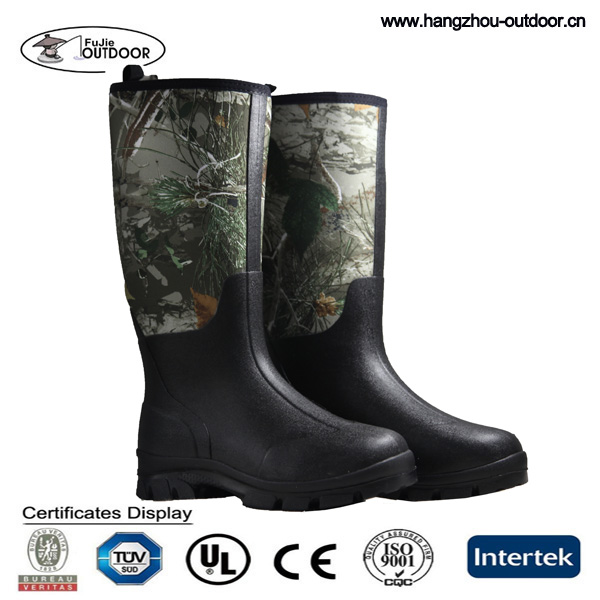 2016 New Product Custom Logo Cheap Camo Neoprene Hunting Rain Boots