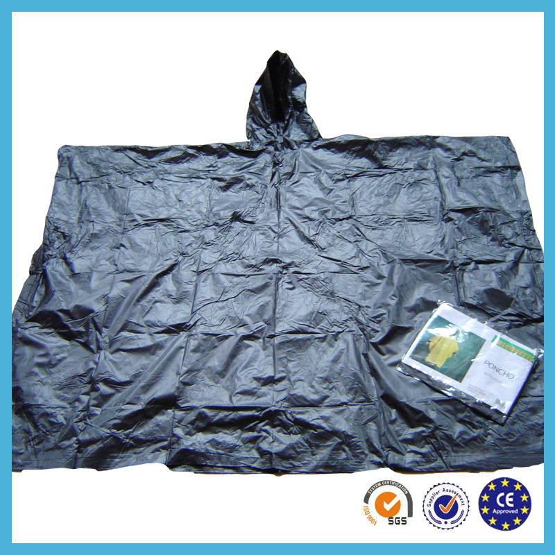 fashion design fine quality black pvc men/ladies rain poncho