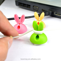 colorful rabbit style USB and power cable drop holder clip retractable badge holder with alligator clip