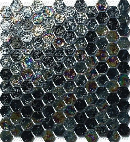 black wavy skidproof hexagon glass mosaic tile (MH04)