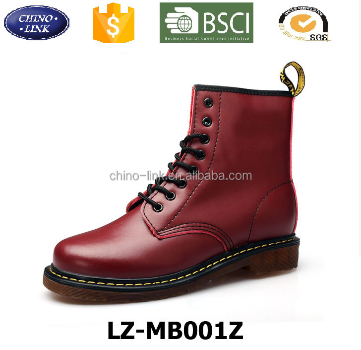 China factory top quality genuine leather men's boots classical man leather shoe dr martens safety boots