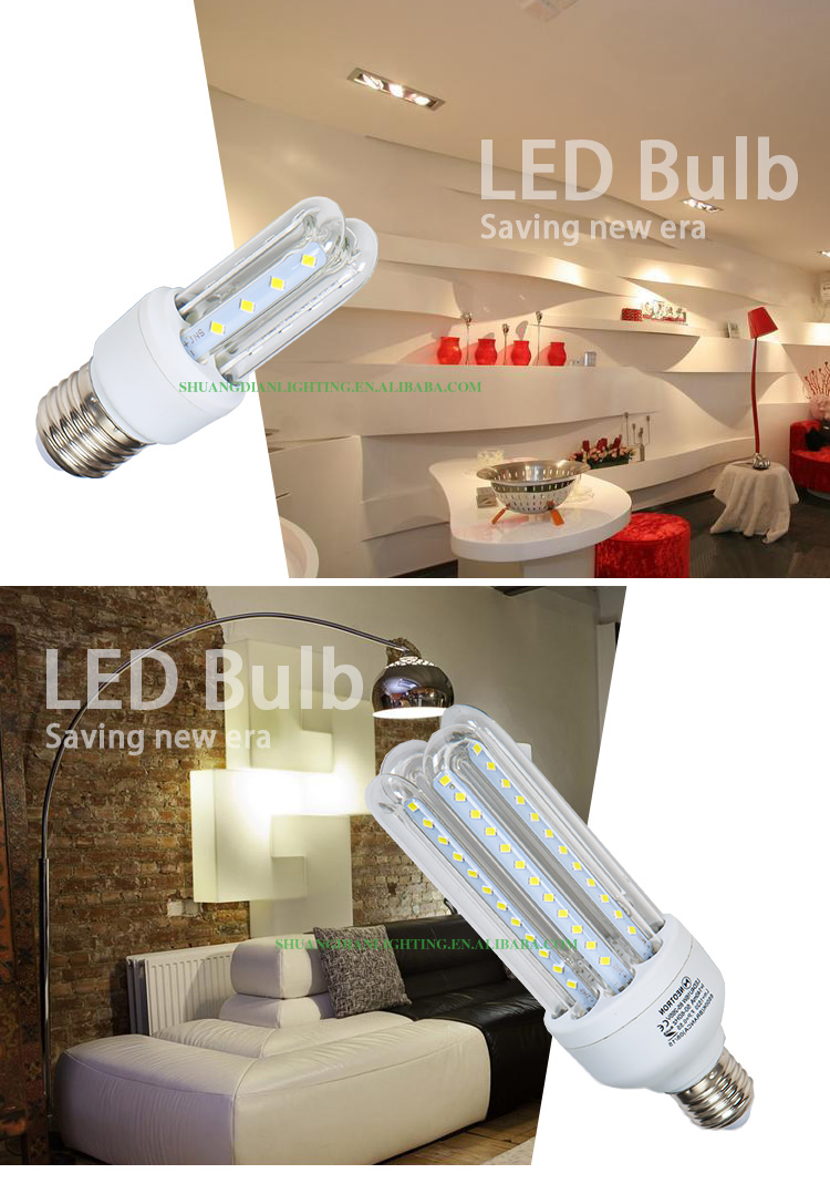2016 Zhongshan ISO UL CE VDE EMC approved 2u LED E27 9W fluorescent light bulb energy saving lamp cfl