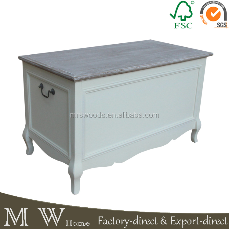 MW Home antique shabby chic oak top pine wooden cream color storage box french blanket box