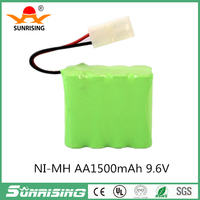 9.6V 1500mAh AA Ni-MH 8 Cell Rechargeable Replacement battery Pack with Connector for RC Cars Boat, Robot, Security