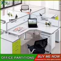 Metal Call Center Desktop Wood Office Partition