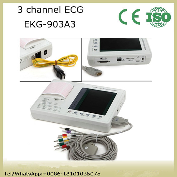Cheap price 3 channel Resting ECG Machine Electrocardiograph electrocardiogram EKG factory