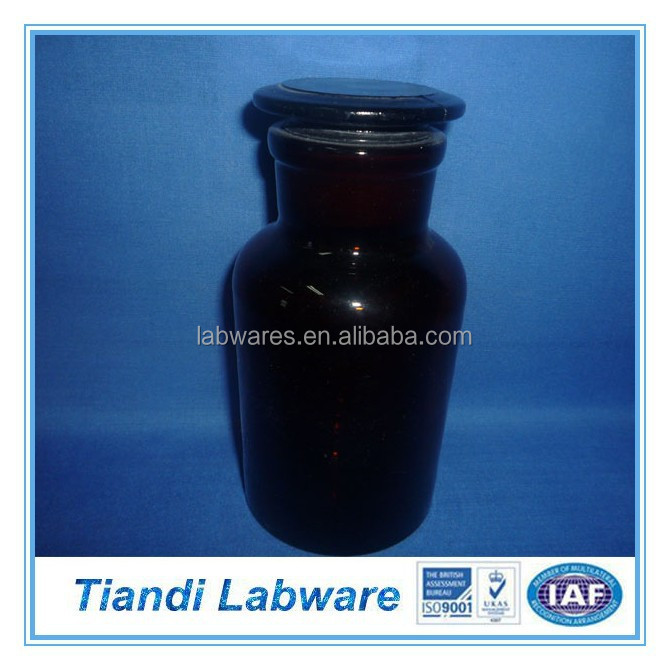 Reagent Bottle Amber Wide Mouth with Ground-in Glass Stopper/Plastic Stopper, Laboratory Glassware