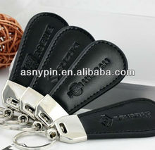 Quality Auto Car logo Drop-shaped Black Leather + Zinc Alloy Key Chains keyring
