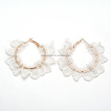 Best prices different types hollow ring fabric flower earrings