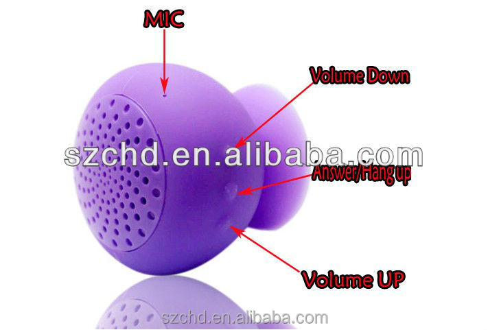 2015 mini newest shower bluetooth mushroom sucker speaker