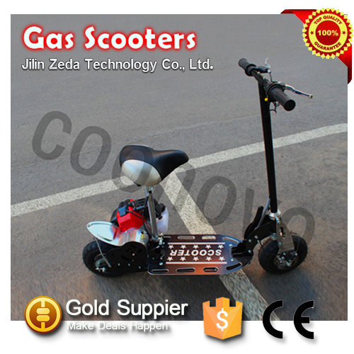 2015 New gasoline power 2 stroke 43cc folding gas cooler scooter