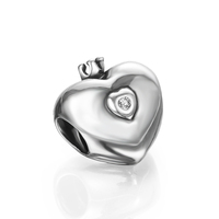 Shiny 925 Sterling Silver Crown Heart Large Hole loose beads for jewelry making PDMB0015