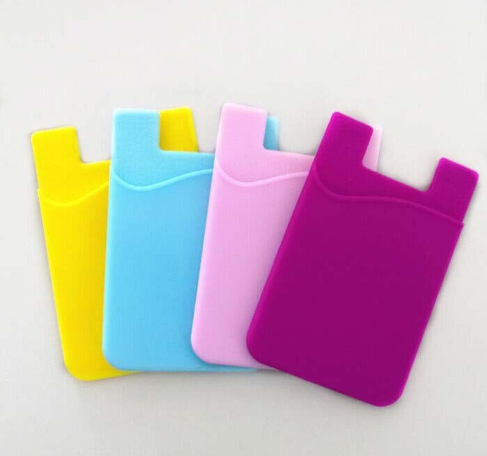New 3M sticky silicone <strong>cell</strong> <strong>phone</strong> back pouch card holder wallet business card Bag