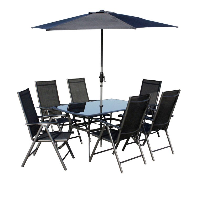6 seater garden patio dining set parasol glass top table and chairs
