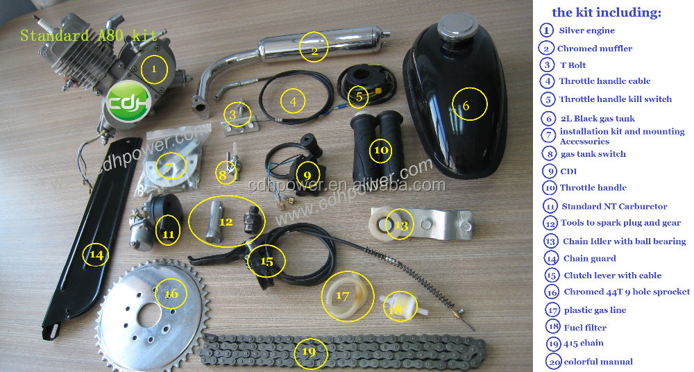 motorised bicycle engine kit 80cc/gas scooter/ motorized foldable bikes/bicycle accessories