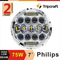 New arrival 75w motorcycle led driving lights 7 inch round led light for je ep wrangler