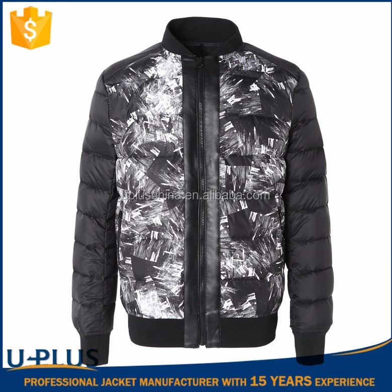 New style mens down bomber jacket for OEM Service Custom
